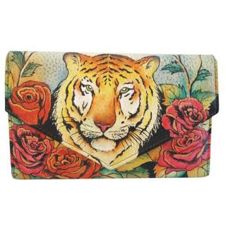 Anuschka Leather Hand Painted Tiger Love Roses Floral Checkbook Wallet