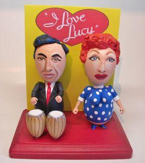 Love Lucy LUCILLE BALL & DESI ARNAZ cartoon egg art figure   1 OF