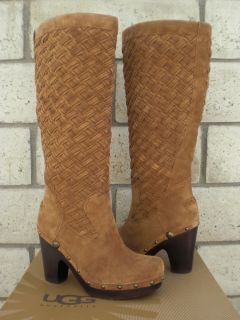 UGG CHESTNUT ARROYO WEAVE SUEDE SHEEPSKIN TALL CLOG BOOTS US 7 38 UK 5