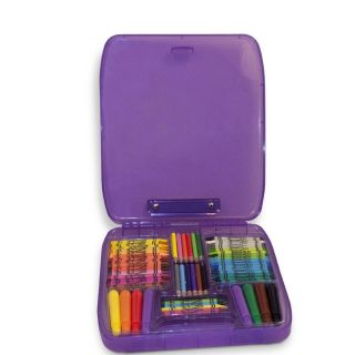 NIP NEW Rose Art Clip N Color Case Red Travel Kids Art Supplies