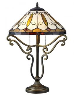 Handcrafted Arroyo Styled Tiffany Style Stained Glass Table Lamp