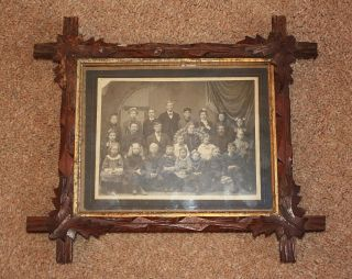 Antique Folk Art Tramp Art Frame w Old Picture Wood Primitive 1800s