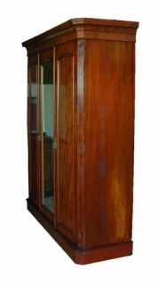 Antique Mahogany Mirrored Armoire Wardrobe w Drawers