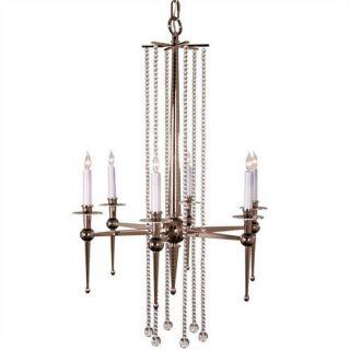 Polished Nickel Bead Glass Art Deco Pendant Chandelier