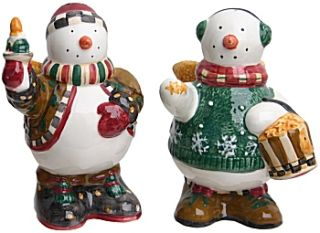 Here is a set of Debbie Mumm Snow Angel Village salt & pepper shakers