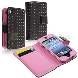 Pink Dot Leather Wallet Case Cover+LCD Film For iPod touch 4 4th G Gen