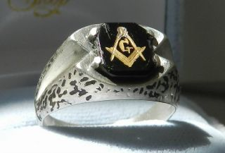 Mens Vintage Masonic Sterling Silver and Black Onyx Ring Free Masonry