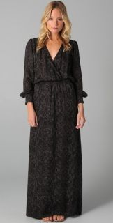 Parker Silk Snake Print Long Sleeve Maxi Dress