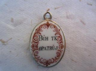 Antique Czech Silver Charm Enamel Porcelain Cherub Angel