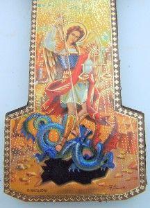 Archangels Saint St Michael w Devil Catholic Wood Crucifix Wall Cross
