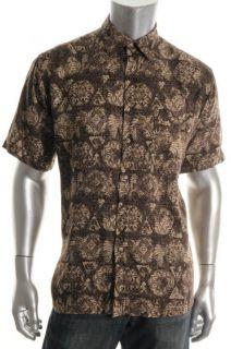 John Ashford New Brown Printed Short Sleeve Button Down Casual Shirt M