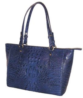 Brahmin Arno Melbourne Croc Embossed Lapis Blue Leather Medium