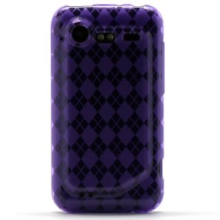 clear purple argyle tpu candy skin case cover for verizon htc