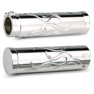 Arlen Ness Grips for Cable Style Bars Flamed Pair Chrome Harley