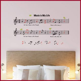 MUSIC NOTES WALL DECALS MURAL DECOR STICKERS #209