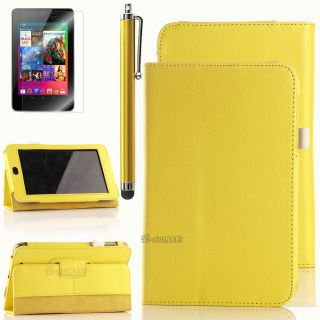 Leather Folio Case Cover for Asus Google Nexus 7 Inch Tablet w/Stylus
