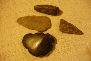 Indian Artifacts & Arrowheads 2 polished carved rocks very unique 2