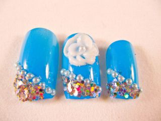 Japanese Artificial Fake Nails Art Cool Blue 3D Flowers