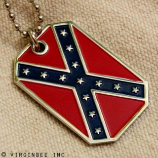 Confederate Flag American Dixie Rebel Pendant Dog Tag Army Ball Chain