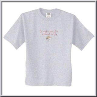 Rod Through Fly Medium Ash Gray T Shirt Funny Fishing Cotton