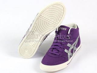 Asics Aaron MT CV Purple Silver Mid Canvas Casual Shoes 2012 Womens