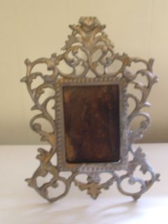 Antique Art Nouveau Brass Easel Table Vanity Mirror Frame