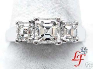 05 Ct Asscher Cut 3 Stone Diamond Engagement Ring
