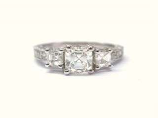 Fine Asscher Cut Diamond Antique Inspired 3 Stone Ring
