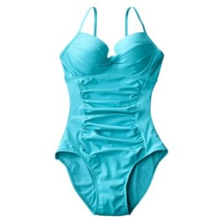 ASSETS® by Sara Blakely® Womens Push Up 1 Piece Swimsuit   Teal