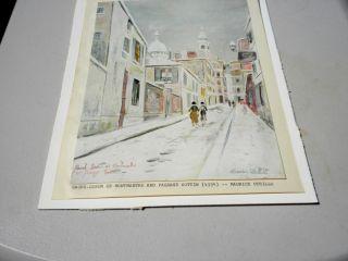 VINTAGE MAURICE UTRILLO PRINT 1934 SACRE COEUR DE MONTMARTRE & PASSAGE