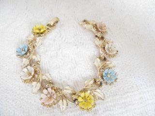 VTG Signed ART Lucite Pastel Flower W/ Rhinestones Art Deco Floral
