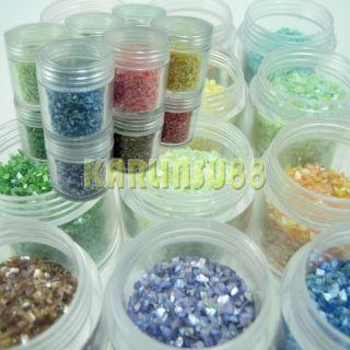 12 Colors Crushed Shell Powder Nail Art Jumbo Jar Size