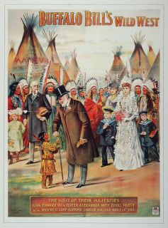 Print Buffalo Bill Wild West King Edward VII Queen Original
