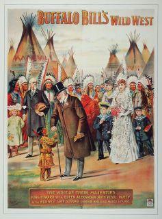 Print Buffalo Bill Wild West King Edward VII Queen Original