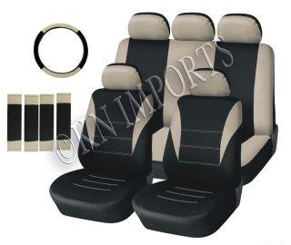 Black Beige Auto Car Seat Covers 14pcs Semi Custom Low Back for Van
