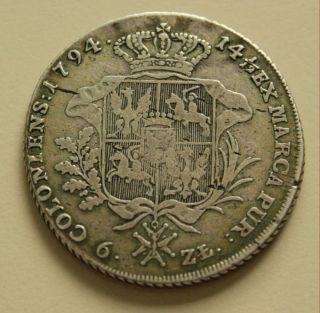 Poland Thaler Crown 6 Zlotych Silver coin King Stanislaus Augustus