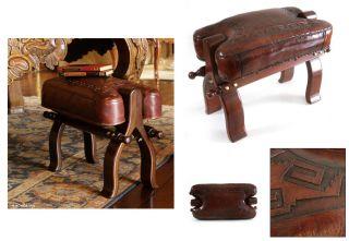 Pyramids Artisan Hand Tooled Leather Cedar Ottoman Chair Stool Ottoman