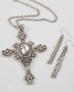 New Cross Necklace Pierced Earrings Set Aurora Borealis Rhinestones