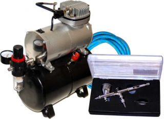 Dual Action Airbrush Tank Air Compressor Auto Paint