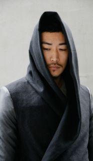 Avant Garde Dark Edge Mod Mens Slim Fit Designer Cross Hooded Coat by