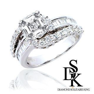 Engagement Anniversary Diamond Ring 2 15 Ct Asscher Cut 14k White Gold