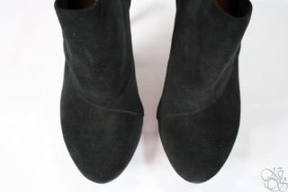 COACH Astrid Black Suede Leather Ankle Boots Shoes