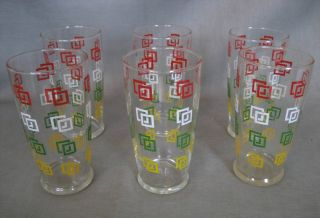 Vintage 50s Iced Tea Glasses Set of 6 Red White Green Yellow Design