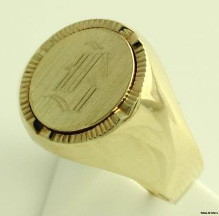 Letter B Initial Ring   10k Yellow Gold   Monogram Engraved Signet