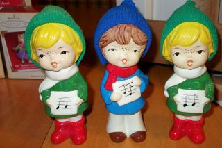 lot 3 VINTAGE CHRISTMAS CHOIR figures BOY GIRLS ceramic Hand MADE in