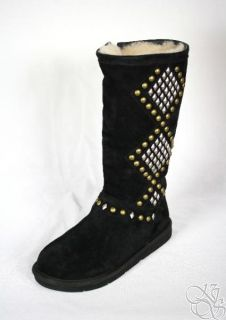 UGG Australia Avondale Black Shearling Studded Womens Winter Boots New