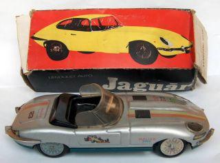 Old Lendulet Jaguar Rallye Service Car Friction Tin Toy