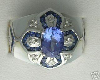 14k White Gold Diamond Tanzanite Sapphires MOP Ring