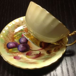 Aynsley Englan Bone China Tea Cup And Saucer Fruit Design Signed