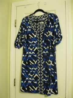 BCBG Max Azaria Black Blue Dress with Belt Size Medium